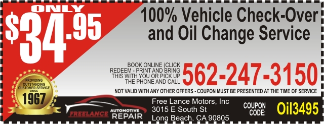 Cheap Oil Change Coupon Long Beach, CA 90805